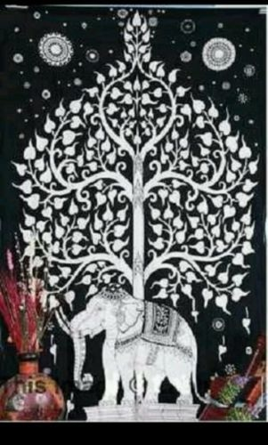 Urban Outfitters Tapestry Elephant Tree Handwork Bedsheet Bedspread Indian Wall Hanging Ethnic Boho Bohemian Student Dorm Hippy