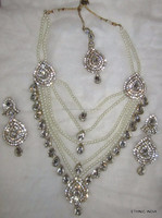 PEARL CRYSTAL RANI HAAR Gold plated BRIDAL necklace EARRING set