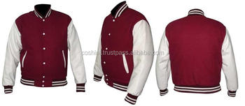 Cosh International: Classic Style Maroon Wool Body And white Leather Sleeves Bseball Unisex Varsity Jackets Supplier SN-70008