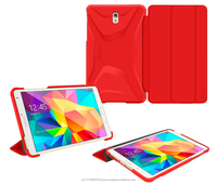 PC slim shell case with soft feel of matte texture and non-scratch interior tablet case for Galaxy Tab S 8.4 roocase (red)