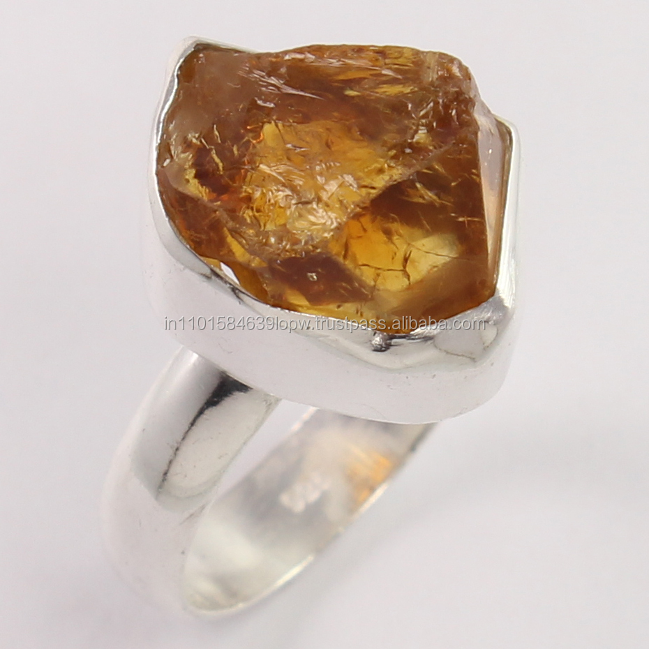 925 Sterling Silver Ring Sz UK O Natural CITRINE Rough Gemstone Wholesale Price