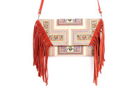 Sublime Cross Body With A Yellow Karanstar Embroidered Pattern, Adorned With Orange Leather Tassel