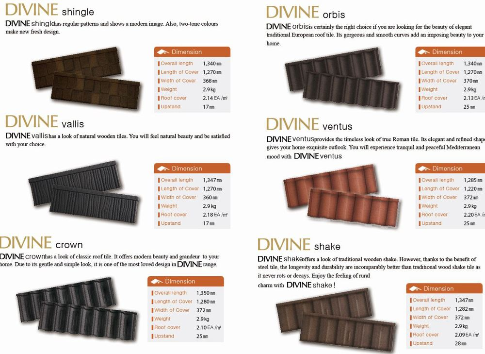 DIVINE(Stone coated steel roof tiles