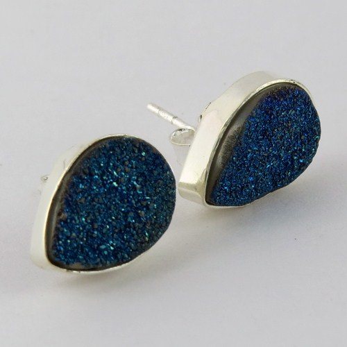 Awesome Color !! Blue Druzy 925 Sterling Silver Studs Earring, Indian Wholesalers Silver Jewelry, Earring Form India
