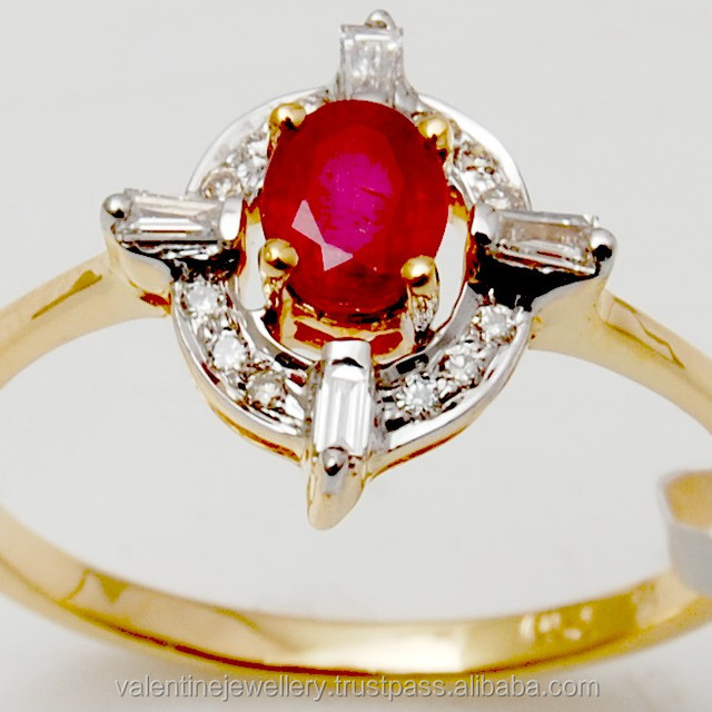 Baguette And Pave Diamond Set Oval Ruby Solid Gold Ring For Girls At Wholesale