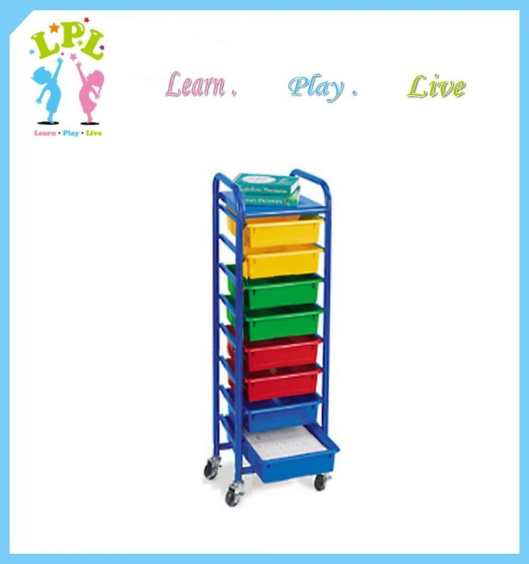 2017 LPL convenient popular stainless steel cabinet 8 plastic drawers toy simple housekeeping trolley