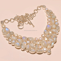 Rainbow Moonstone with River Pearl Gemstone Wholesale 925 Sterling Silver Necklace Jewelry