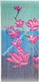 Bamboo door curtain painted 100% by hand hanging room divider pinkflower on blue background