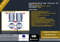 GOODWATER SA SEPTIC TANK MODEL: GWS SA 50 - 100 Conventional Activated Sludge (50 - 100 P.E.)