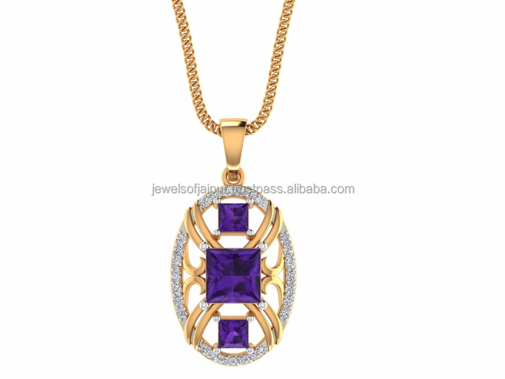 Exclusive Designer Princess Cut Purple Amethyst March Birthstone Natural Certified Diamond 14k Yellow Gold Pendant for Women's