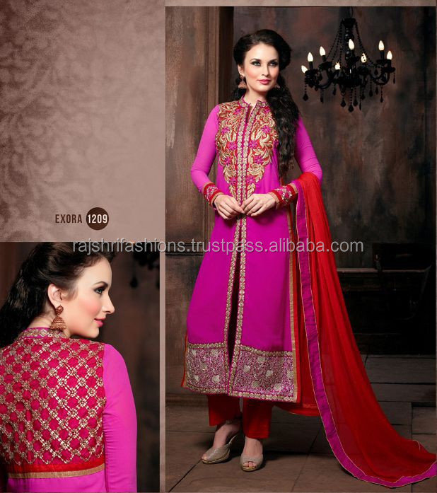 Rani pink color with zardosi zari red stone embroidery work at neck and bottom front and back semi stitch salwar kameez