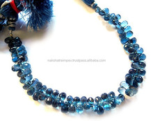 Natural London Blue Topaz 7x10mm Drops Faceted Loose Beads Strand