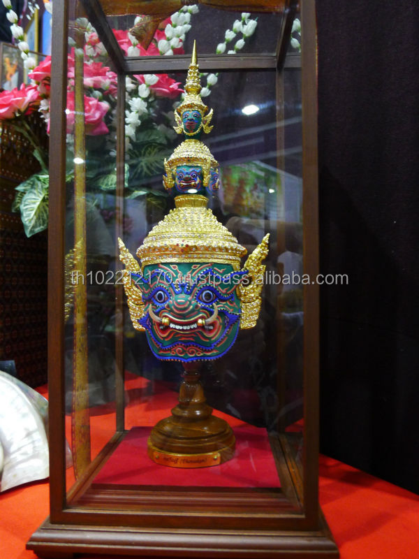 Thai KHON Mask Ramakien Characters Handicraft model size with Glass box