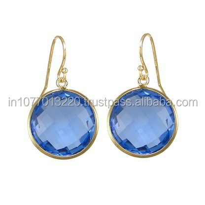 Beautiful Iolite Quartz Round Gemstone Earring - Gold Plated Sterling Silver Earring
