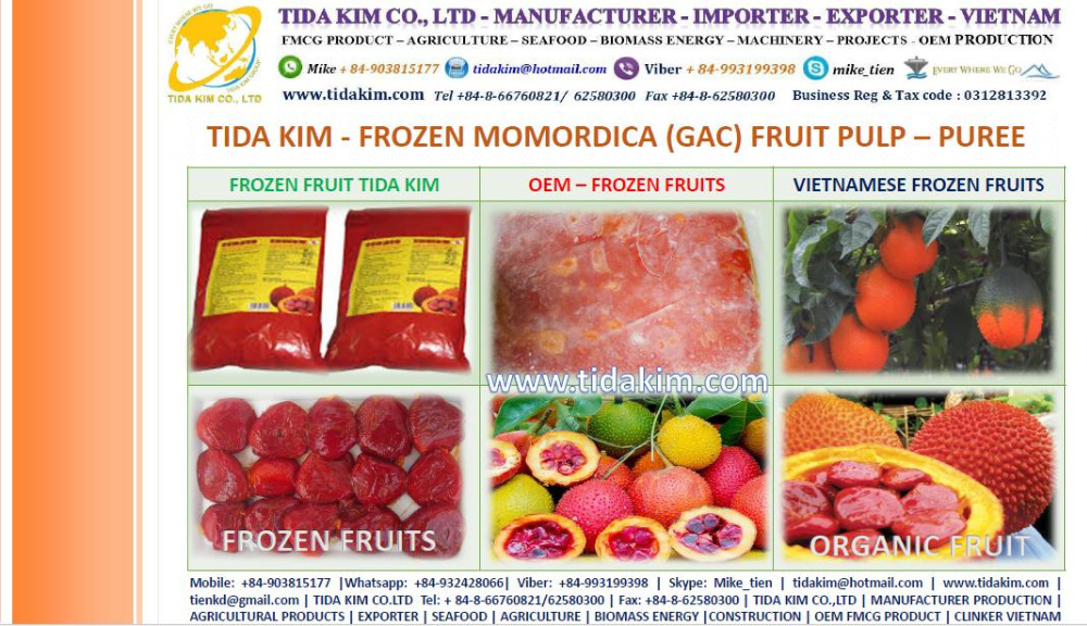 FROZEN GAC MOMORDICA FRUIT PULP FROZEN PUREE TIDA KIM MANUFACTURER OEM VIETNAM FRESH ORGANIC PUREE ORGANIC GAC JUICE POWDER