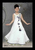 Evening gown/frock designs for kids in white colour