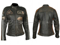 Motorcycle Women Leather Jacket With Protections