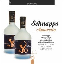 Natural, sweet Schnapps Amaretto Flavored Liqueur Yo brand