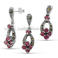 Round Cut Red Corurdum Gemstone Adorn Earring Studs Pendant Jewel Set .925 Sterling Silver Marcasite Fashion Jewelry
