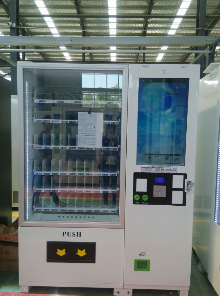 Multifunctional combo vending machine with advertising display for shopping mall
