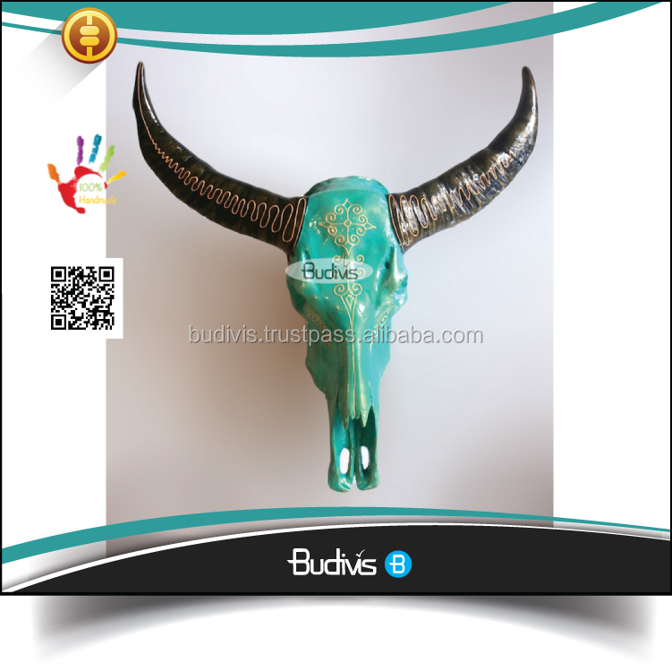 Top Model Hand Painted Resin Large Buffalo Skull Heads Wall Decorative