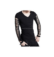2016 Gothic black men's Long-sleeve top with slashed arms and 2015 back cotton material shirt FC-4149