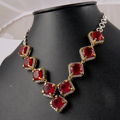 Marvelous Victorian !! Red Onyx_White CZ 925 Sterling Silver Necklace, Exclusive Designs Silver Jewellery