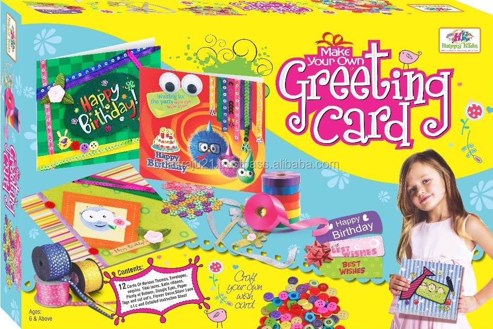 DIY greeting cards craft for kids with stickers, colored paper Toys