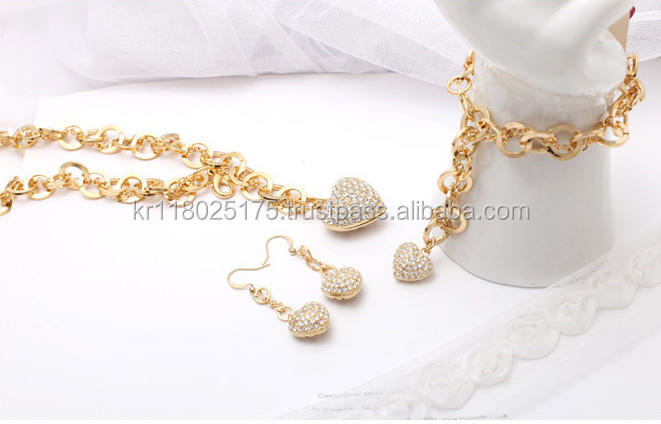 14K Gold Plate Jewelry Sets, Thick Chain Necklace, Bracelet, Earring, 14Kg Plate