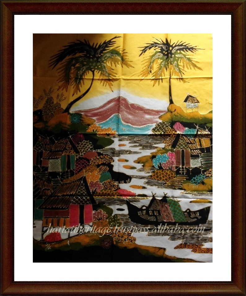 "Wholesale Indonesian Batik Painting Art Home Decoration ""Landscape Series"" 70*90 Cm"