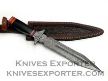 Custom Handmade Damascus Steel Dagger Knife, Horn Handle with Damascus Guard & Pommel