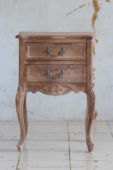 Reclaimed Furniture - French Louis XV Nighstand 2 Drawer Indonesia Furniture