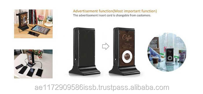 Wooden Fashionable Power Bank Pack With LED Light for Advertising Restaurant Coffee Shop Phone Charging Station