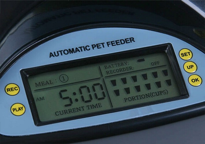 Battery-powered automatic dog food feeder