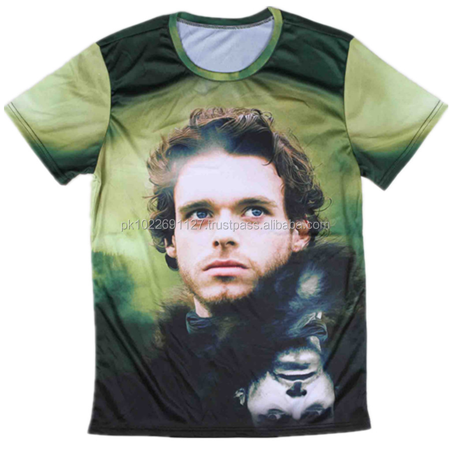 Whosale cheap Blank soft touch 100% polyester sublimation t shirt / Round neck full sublimated beautifull T Shirts