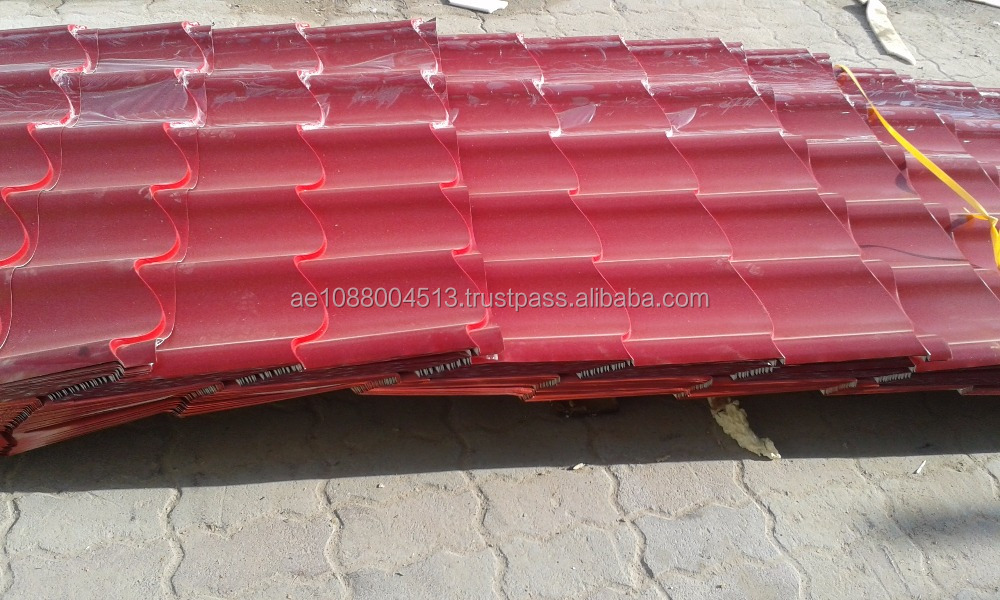 Roof tile metal sheets, Color coated Metal roof, Tile look Metal cladding + 971 565478106 Dubai