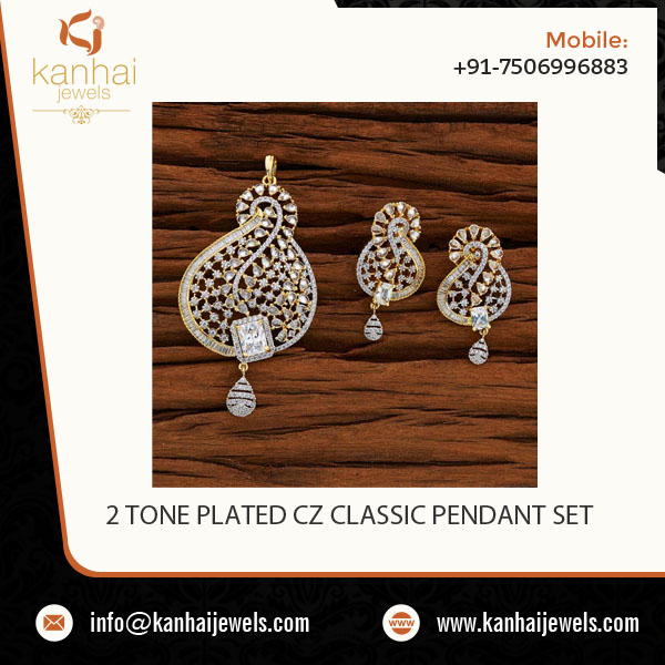 2 Tone Plated CZ Classic Pendant Set with an Attractive Look at Reliable Price