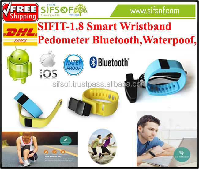 SIFIT-1.8 Waterpoof New Design Smart Wristband, it can Communicate with Smart Phone Via Bluetooth.