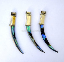 Abalone Horn Pendant Tibetan Horn Tooth Spike Tusk Bullet Head shape Brass Cap and Bail Pendant