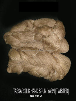handmade , hand spun Tussah silk yarns obtained from the tasar moth in natural beige colours