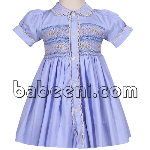 Nice girl smocked dress tiny flower hand embroidered dress