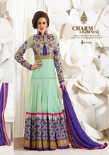Light color verde semi georgette anarkali traje
