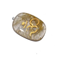 2015 Hot Collection Golden Rutile Om Oval Pendants : Wholesale Engraved pendants