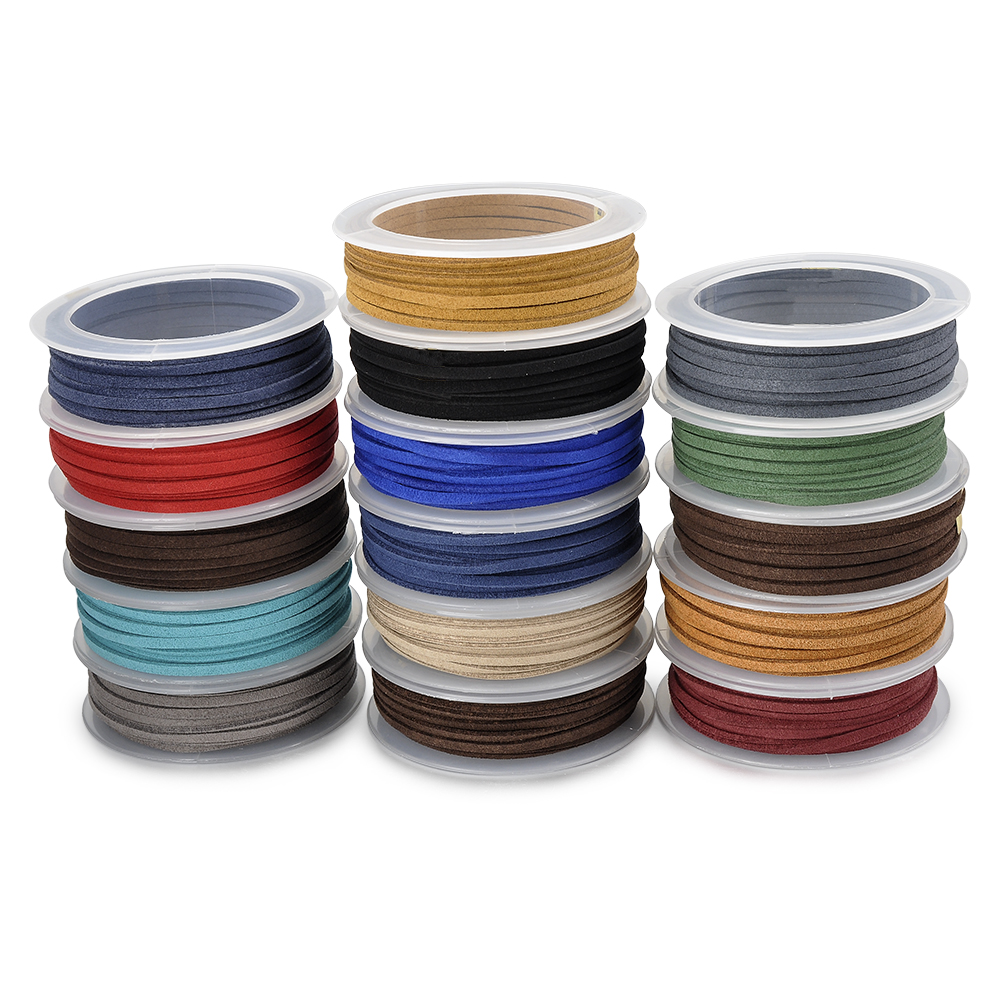 Various Mixed Color 1.5mm Genuine 100% Velvet Suede Leather Rope Vegan Leather Cord
