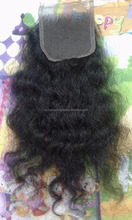 Lace closure 100% natural hair, curly Cambodian hair