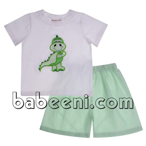 Nice applique children clothing with dinosaur applique boy set