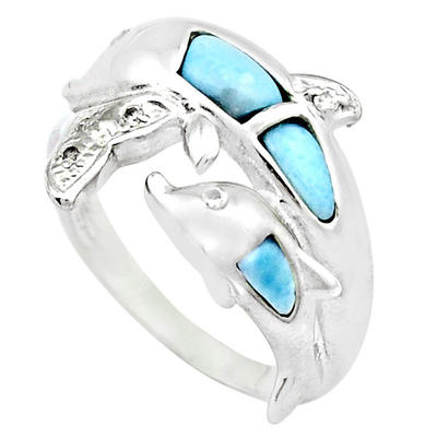 Stunning 925 Sterling Silver Dolphin Pair Ring Decorated with Larimar Gemstone