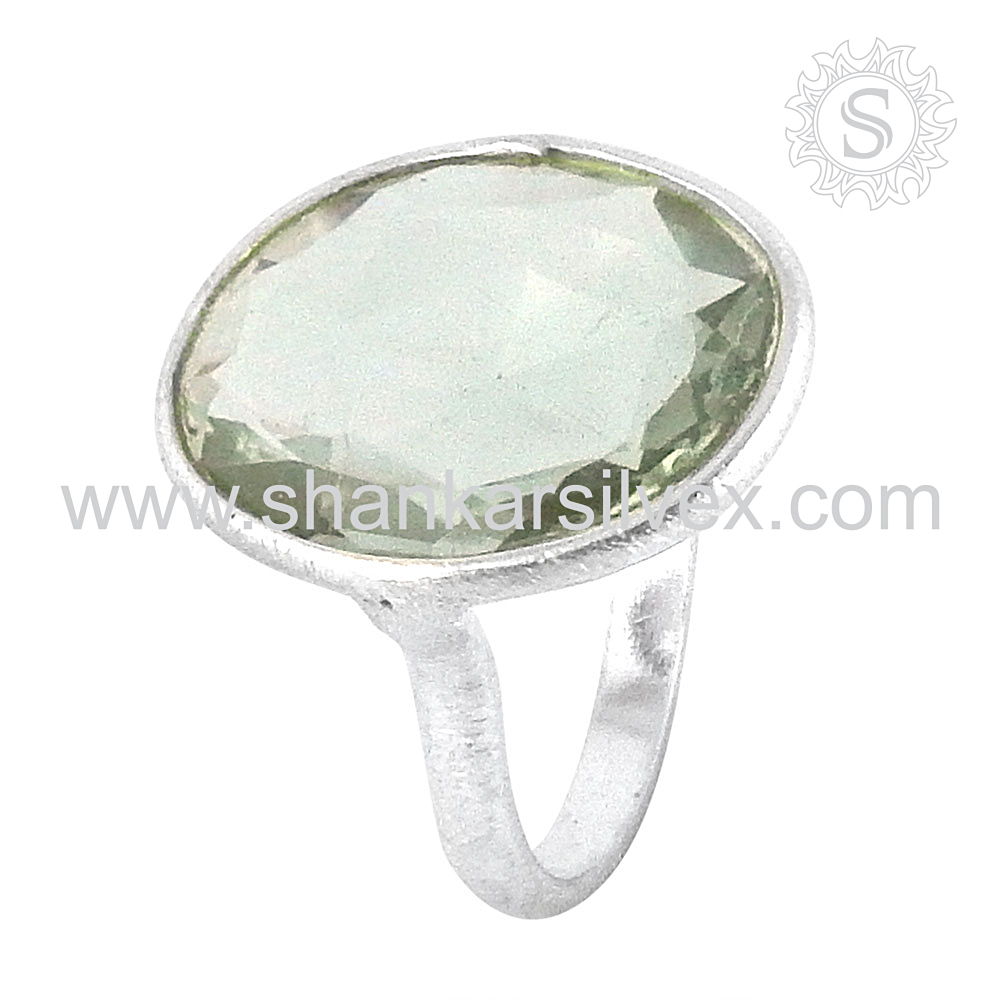 Perfection ! 925 Sterling Silver Jewelry Green Amethyst, Gemstone Silver Jewelry, Wholesale Silver Jewelry Ring