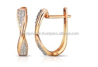 14K Rose Gold Earring With Diamonds Wholesale Original Gold Earring Design For Women With Price