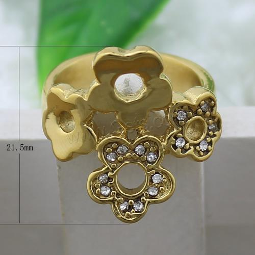 New Rhinestone index finger ring with Stainless Steel flower gold color plated US size